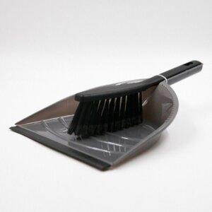 2-teiliges Kehr-Set, Handfeger und Kehrblech, Kunststoff, grau