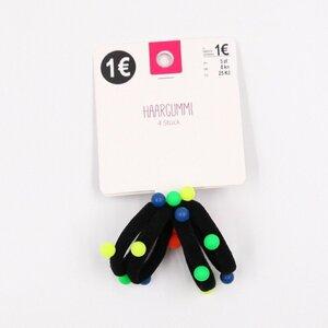 4er-Pack Haargummis für Kinder mit Neon-Perlen, Ø ca. 4 cm, schwarz