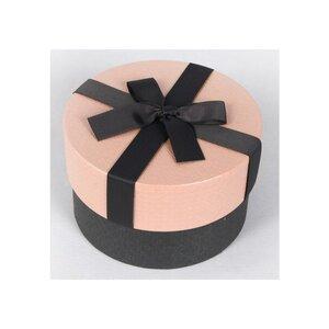 Geschenkbox mit Schleife, mit dezentem Muster, rosa/schwarz, verschiedene Größen