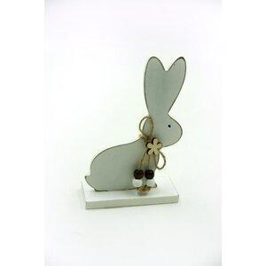 Deko-Figur, Hase, Holz, 10 x 15,7 cm, Weiß