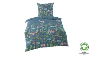 Como Green Mako Satin Bettwäsche  Floral - blau - 100% Baumwolle - Bettwaren > Bettwäsche-Sets > weitere Bettwäschesets - Möbel Kraft