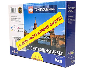 TONERDUMPING XL-Druckerpatronen kompatibel zu Epson 16XL/ T1621 - T1624, 10er Set + 1x schwarze Pat