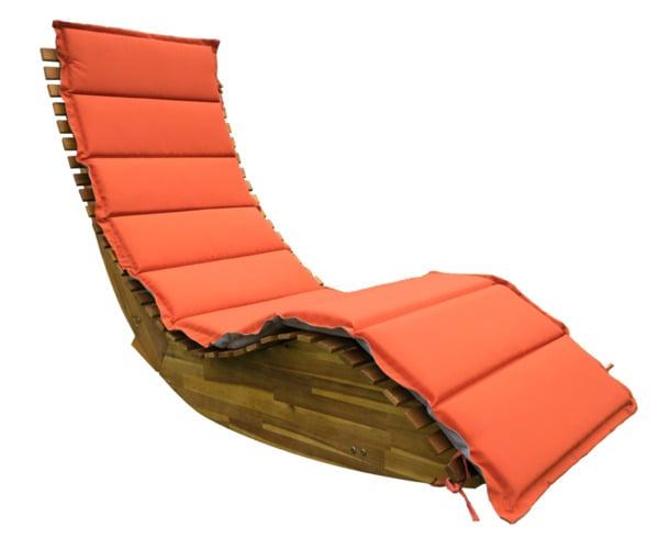 Deuba Ergonomische Schwungliege Saunaliege aus Akazienholz inkl. Auflage - FSC® zertifiziert