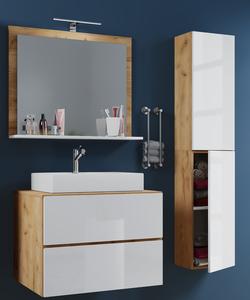 VCM Badblock Lendas L 80cm Unterschrank + Spiegel + 1 Seitenschrank Honig-Eiche/Weiß
