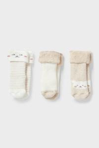 C&A Multipack 3er-Baby-Socken-Winter, Beige, Größe: 12-13