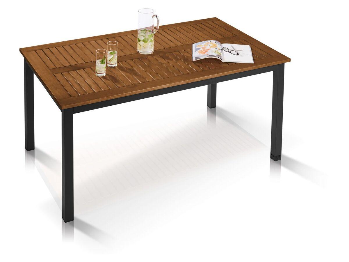 Bild 3 von FLORABEST Alu-Gartentisch Valencia mit Holzplatte, 150x90 cm, Braun