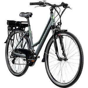 Zündapp Z802 700c E-Trekkingrad Damen E-Bike 28 Zoll Elektrofahrrad Pedelec 21 Gänge... 48 cm, grau/grün