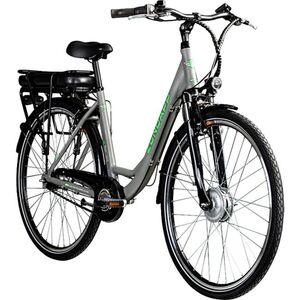 Zündapp Z502 700c E-Bike Citybike Pedelec 28 Zoll E Damenfahrrad Elektrofahrrad Tiefeinsteiger... grau/grün, ohne Korb