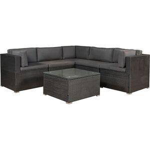 ArtLife Polyrattan Gartenmöbel Lounge Sitzgruppe Nassau in schwarz mit Bezügen in Dunkelgrau