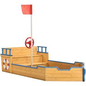 Juskys Sandkasten Käpt'n Pit mit Bodenplane & Sitzbank – Holz Piratenschiff Boot – Sandkiste Sandbox