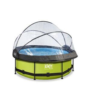 EXIT Lime Pool ø244x76cm mit Abdeckung und Filterpumpe - grün