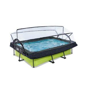 EXIT Lime Pool 220x150x65cm mit Abdeckung und Filterpumpe - grün