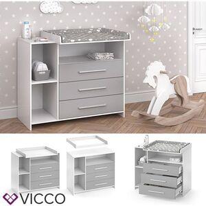 VICCO Wickelkommode OSKAR weiß grau Wickelregal Babymöbel Kommode Wickeltisch