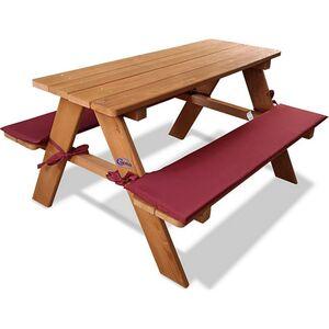 Coemo Kinder-Sitzgruppe Picknicktisch Spieltisch Holz mit zwei Sitzpolstern