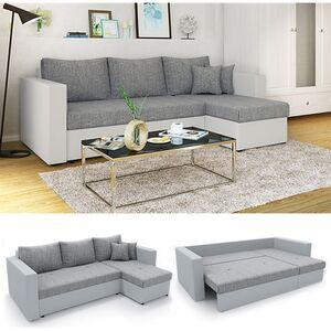 Vicco Ecksofa mit Schlaffunktion Sofa Couch Schlafsofa Bettfunktion Taschenfederkern Grau/Grau