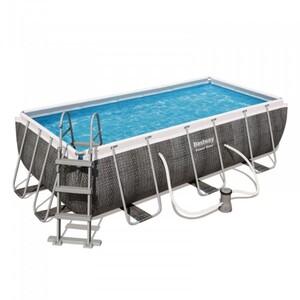 Bestway Power Steel Frame Pool Komplett-Set, eckig, 404 x 201 x 100 cm, mit Filterpumpe und Sicherheitsleiter