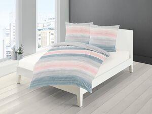 Bierbaum Mako-Satin Bettwäsche »Pastell Streifen«, Grau-Rosa