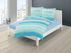 Bierbaum Mako-Satin Bettwäsche »Pastell Streifen«, Blau-Weiß