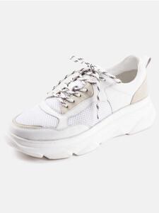 Ledersneakers im Materialmix