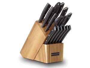 """ECHTWERK Messersblock Set """"Premium"""" aus Akazienholz mit rutschemmenden Gummifüßen, Messer aus Klingenstahl"""