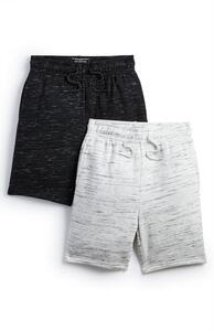 Jersey-Shorts in Schwarz und Grau (Teeny Boys), 2er-Pack