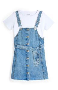 2-in-1-Set mit Jeans-Latzkleid (Teeny Girls)