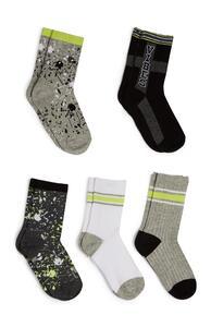Schwarz-khakifarbene Socken mit Farbspritzern, 5er-Pack
