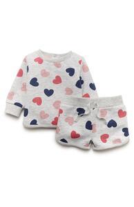 Grauer Freizeitanzug mit Shorts und Herzen für Babys (M)