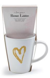 """""""Rose Latte"""" Geschenkset mit Tee und Tasse"""
