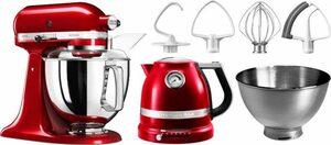 KitchenAid Küchenmaschine Artisan 5KSM175PSECA, 300 W, 4,8 l Schüssel, mit Gratis Wasserkocher, 2. Schüssel, Flexirührer