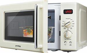 Privileg Mikrowelle 670559, Grill, 20 l, im Retro-Design, 8 Automatikprogramme, beige