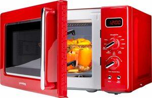 Privileg Mikrowelle 450555, Grill, 20 l, im Retro-Design, 8 Automatikprogramme, rot