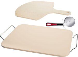 WESTMARK Pizzastein, Keramik, (Set, 3-St), Inkl. Pizzaschaufel und Pizzaschneider