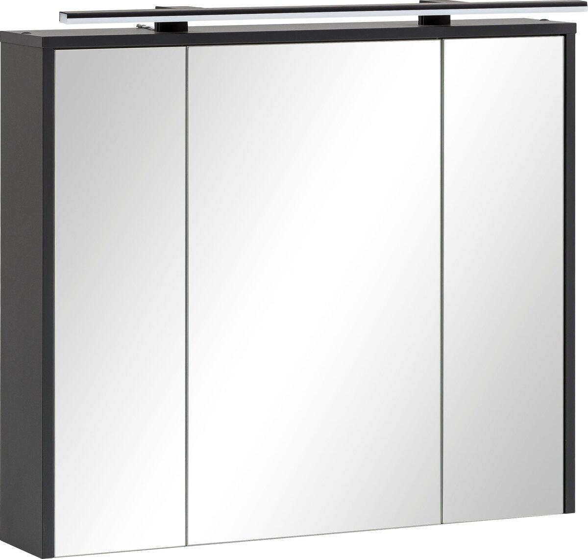 Bild 1 von Schildmeyer Spiegelschrank Breite 83,5 cm, 3-türig, LED-Beleuchtung, Steckdosenbox, Soft-Close-Funktion, Glaseinlegeböden, montiert, Made in Germany