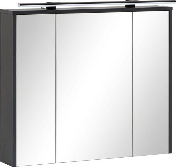 Schildmeyer Spiegelschrank Breite 83,5 cm, 3-türig, LED-Beleuchtung, Steckdosenbox, Soft-Close-Funktion, Glaseinlegeböden, montiert, Made in Germany
