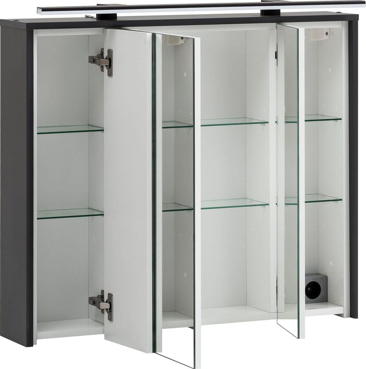 Bild 2 von Schildmeyer Spiegelschrank Breite 83,5 cm, 3-türig, LED-Beleuchtung, Steckdosenbox, Soft-Close-Funktion, Glaseinlegeböden, montiert, Made in Germany