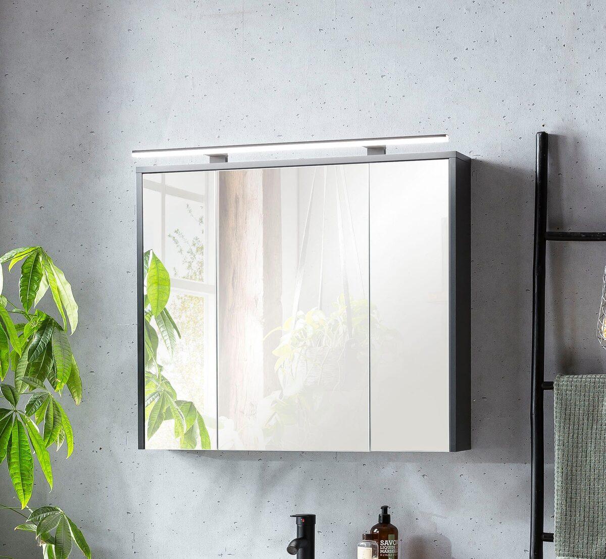 Bild 3 von Schildmeyer Spiegelschrank Breite 83,5 cm, 3-türig, LED-Beleuchtung, Steckdosenbox, Soft-Close-Funktion, Glaseinlegeböden, montiert, Made in Germany