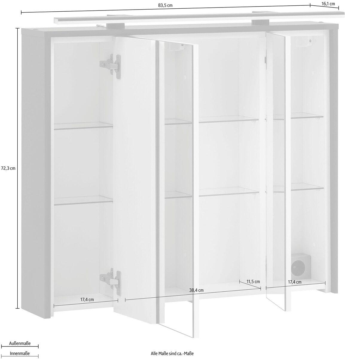 Bild 4 von Schildmeyer Spiegelschrank Breite 83,5 cm, 3-türig, LED-Beleuchtung, Steckdosenbox, Soft-Close-Funktion, Glaseinlegeböden, montiert, Made in Germany