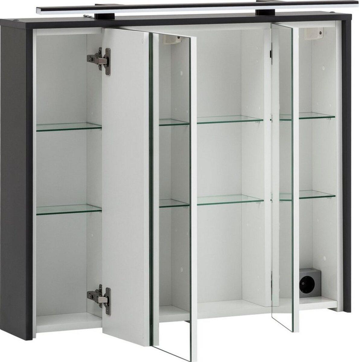 Bild 5 von Schildmeyer Spiegelschrank Breite 83,5 cm, 3-türig, LED-Beleuchtung, Steckdosenbox, Soft-Close-Funktion, Glaseinlegeböden, montiert, Made in Germany