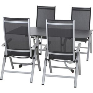 Siena Garden Dining-Set Argos 5-teilig 4 x Klappsessel 1 x Lofttisch