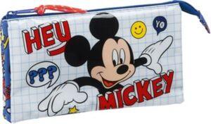 Triple-Schlampermäppchen Mickey Mouse Hey, Mickey! blau/rot