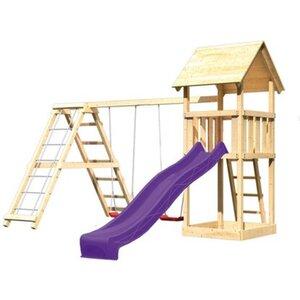 Akubi Spielturm Lotti Klettergerüst mit Doppelschaukel & Rutsche Violett