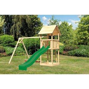 Akubi Spielturm Lotti mit Satteldach, Doppelschaukel & Rutsche Grün