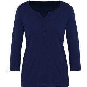 """Adagio Shirt """"Aria"""", 3/4-Arm, uni, Knöpfe, Split Neck, für Damen"""