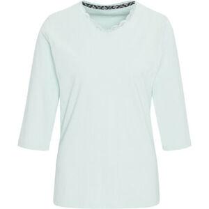 Desirée Shirt, 3/4 Arm, Mix & Match, uni, V-Ausschnitt, Spitzenbordüre, Baumwolle, für Damen