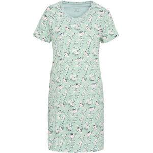 Desirée Nachthemd, Kurzarm, Mix & Match, Blumen-Print, V-Ausschnitt, Spitzenbordüre, Baumwolle, für Damen