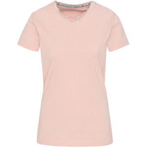 Desirée Shirt, Kurzarm, Mix & Match, uni, V-Ausschnitt, Spitzenbordüre, Baumwolle, für Damen