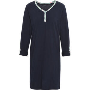 Desirée Nachthemd, Langarm, Mix & Match, V-Ausschnitt, Knopfleiste, Turn-up-Ärmel, Baumwolle, für Damen