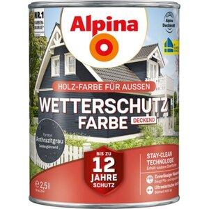 Alpina Wetterschutzfarbe Anthrazitgrau 2,5 l