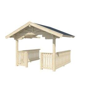 Skan Holz Vordach für Blockbohlenhaus Arosa 45 mm 3,0 m x 3,0 m mit Brüstung